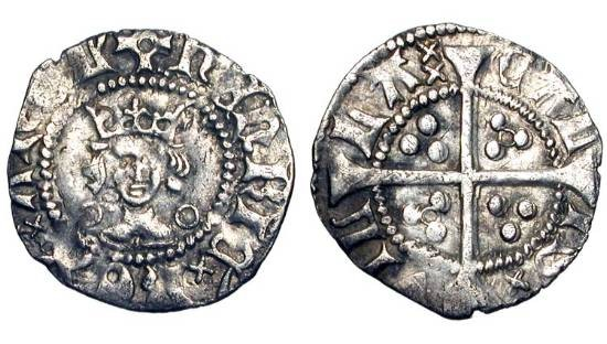 World Coins - ENGLAND.  Henry VI, 1422-1461 AD.  AR Halfpenny,   Annulet issue, Calais.  Im. pierced cross.  Crowned bust facing,  / Long cross with three pellets in each angle.  S.1849.  VF.