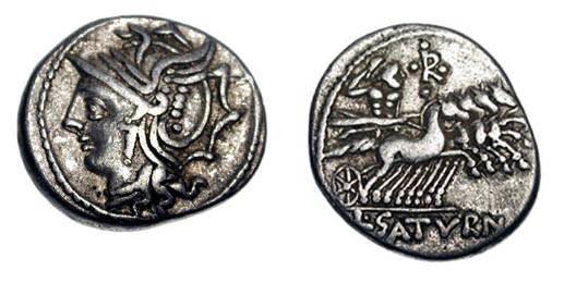 Ancient Coins - ROMAN REPUBLIC.  L. Appuleius Saturninus, 104 BC.  AR Denarius (3.91 gm).  Helmeted head of Roma / Saturn in quadriga.  Appuleia.1var.  Cr.317/3a.  Toned VF.