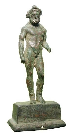 """Ancient Coins - Bronze Figurine of Hercules.  Roman, I-II Century AD.  Finely-modelled statuette, on stand, of bearded Hercules, with detailled facial features.  Figure 4.25"""" high."""