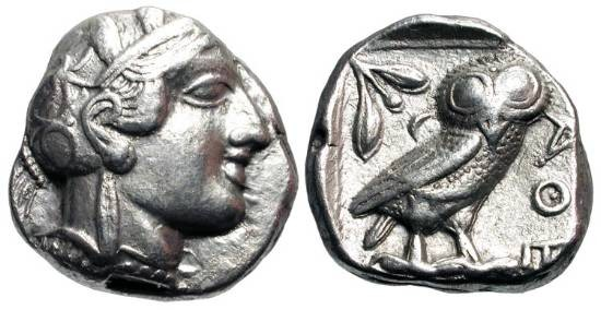 Ancient Coins - ATTICA, Athens. 449-413 BC.  AR Tetradrachm (16.98 gm).  Helmeted head of Athena / Owl standing with olive sprig and crescent, all in incuse square.   S.2526.  Toned VF+.