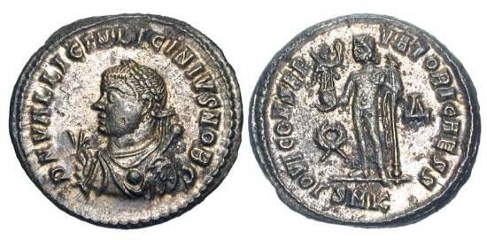 Ancient Coins - LICINIUS II, 317-324 AD.  Silvered Æ Follis, Kyzikos, 317-20.  Laureate robed bust with mappa, globe and sceptre / Jupiter standing with Victory and sceptre.  RIC.11(r1).