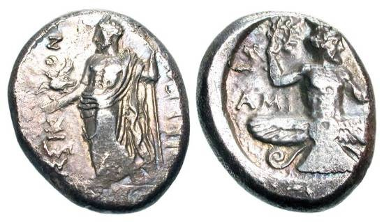 Ancient Coins - CILICIA, Issos.  Satrap Tiribazos, 386-380 BC.  AR Stater (10.38 gm.).  Baal standing holding a scepter amd eagle / Ahura Mazda (bird-man) with wreath.  SNG.Fr2.416.  SNG.Lev.175.