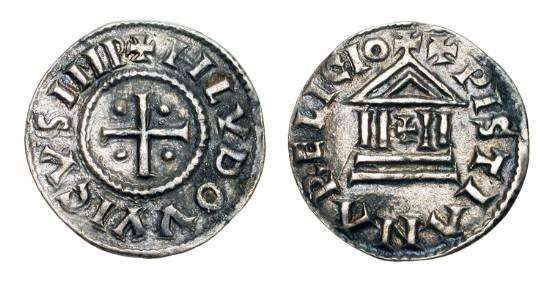 World Coins - CAROLINGIANS.  Louis I the Pius, 814-840 AD.  AR Denier (1.56 gm).  Cross with four pellets / Temple with cross at center.  Prou.990.  Toned VF+.