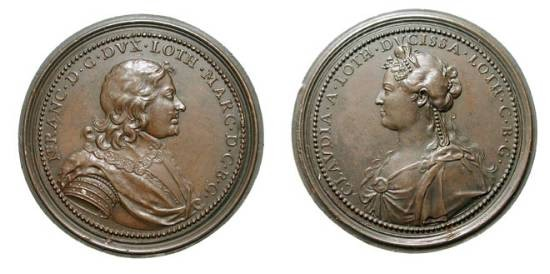 World Coins - FRANCE, Lorraine.  Nicolas Francis and Claudia.  Æ 47 Medal (47.96 gm) by St. Urbain.  ca. 1715 AD.  Bust Nicholas Francis / Bust Claudia.  Forrer.v5.p310.  aXF, brown patina.