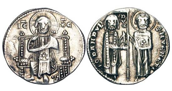 World Coins - ITALY, Venice.  Giovanni Dandolo, 1280-1289 AD.  AR Grosso (2.15 gm).  Christ enthroned facing / The Doge and Saint Mark standing facing,holding banner.  Paol.27.2.  Toned VF+.