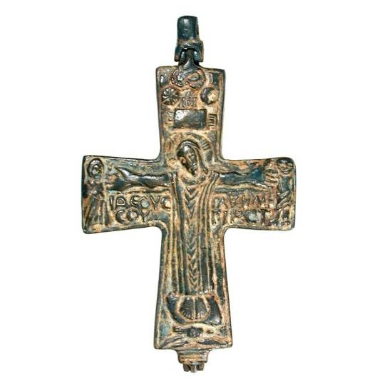 """Ancient Coins - Bronze Reliquary Cross.  Byzantine X-XI Century AD.   Bronze Reliquary cross with Christ on Cross, plague above.  John 19: 26-27.   4.5"""" x 3"""".  Choice with custom easel stand."""