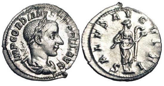 Ancient Coins - GORDIAN III, 238-244 AD.  AR Denarius (2.77 gm).  Laureate draped bust / Salus standing feeding serpent.  RSC.325.  RIC.129a.  Near mint.