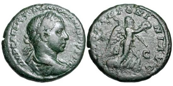 Ancient Coins - ELAGABALUS, 218-222 AD.  Æ As (11.30 gm).  Laureate bust / Victory advancing with wreath and palm. RIC.376(S)  VF, dark green patina.  Scarce.