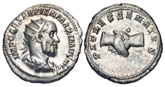 Ancient Coins - PUPIENUS, 238 AD.  AR Antoninianus (4.91 gm).  Radiate draped bust / Clasped hands.  RIC.11b.  Nicely toned Near Mint
