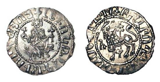 World Coins - CILICIAN ARMENIA.  Levon I, 1198-1219 AD.  AR Half Double Tram (2.70 gm).  King enthroned holding cross and fleur de lys / Lion holding cross.  N.274.  XF.  Scarce