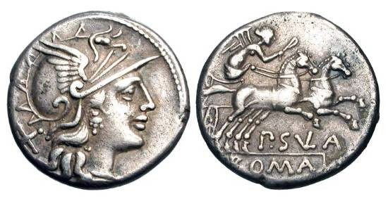 Ancient Coins - ROMAN REPUBLIC.  Pub. Sulla, 151 BC.  AR Denarius (3.64 gm).  Helmeted head of Roma / Victory in biga.  Cornelia.1.  Cr.205/1.  Toned VF.