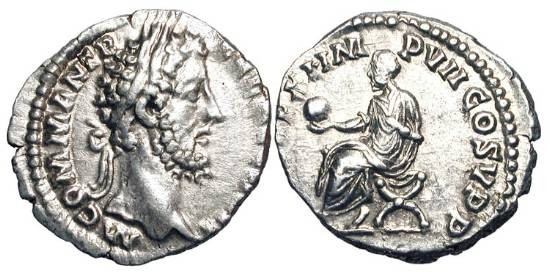 Ancient Coins - COMMODUS, 177-192 AD.  AR Denarius (2.92 gm), 185.  Laureate head / Emperor seated on curule chair, holding branch and sceptre.  RIC.124.  Toned aXF.