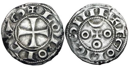 World Coins - FRANCE, Angoulême.  XII Century AD.  AR Denier (0.99 gm).  Cross / Small cross with crescent and three annulets at ends.  Rob.4373.  PdA.2663.   B.446v.  D.947.  Toned VF.