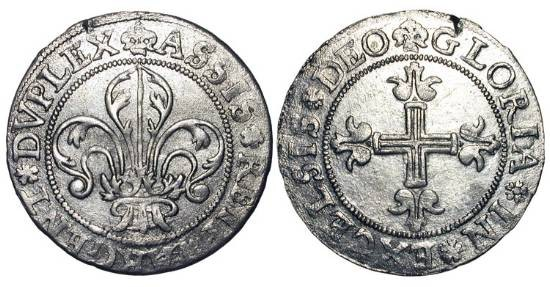 World Coins - FRANCE, Strasbourg.  1621-1623 AD.  AR Dreibatzner (3.09 gm).  Lis / Cross.  Rob.9084v.  B.1349.  El.465.  aXF