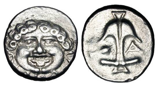 Ancient Coins - THRACE, Apollonia Pontica.  After 450 BC.  AR Reduced Drachm.  Head of Gorgon facing, tongue protruding / Anchor with crayfish and A at sides.  SNG.BM.160v.  aXF, rev die worn.  …