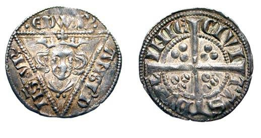 World Coins - IRELAND.  Edward I, 1272-1307 AD.  AR Penny (1.38 gm) of Dublin, cl. Ib.  Crowned bust facing in triangle / Long cross with three pellets in each angle.  S.6247. Toned VF+.