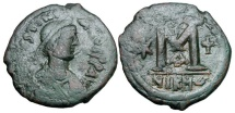 Ancient Coins - BYZANTINE EMPIRE.  Justinian I, 527-565 AD.  Æ Follis of Nikomedia.