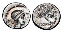 Ancient Coins - ROMAN REPUBLIC.  Q. Sicinius, 49 BC.  AR Denarius. Scarce.