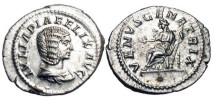 Ancient Coins - JULIA DOMNA, d. 217 AD.  AR Denarius (3.28 gm).  Draped bust / Venus enthroned extending hand and holding sceptre.  RIC.388c.  Near Mint.