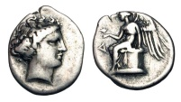 Ancient Coins - BRUTTIUM, Terina. 356-300 BC.  AR Drachm.