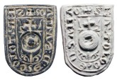 "World Coins - Bronze Seal Matrix.  Spain, XIII-XIV Century AD.  Seal of Bartolomeo de Santam (S BARTOLOME D SANTAM), shield of arms in shield-shaped seal.  1 1/4"" long.  Intact."