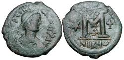 Ancient Coins - BYZANTINE EMPIRE.  Justinian I, 527-565 AD.  Æ Follis of Nikomedia.