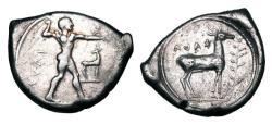 Ancient Coins - BRUTTIUM, Kaulonia.  450-445 BC.  AR Stater.   ex Mark Christenson Collection.