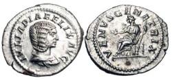 Ancient Coins - JULIA DOMNA, d. 217 AD.  AR Denarius (3.28 gm).  Draped bust / Venus enthroned extending hand and holding sceptre.  RIC.388c.  Near Mint.