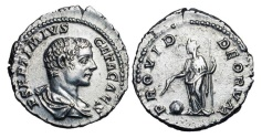 Ancient Coins - GETA, 209-212 AD.  AR Denarius