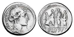 Ancient Coins - BRUTUS.  Assassin of Julius Caesar.  AR Denarius.