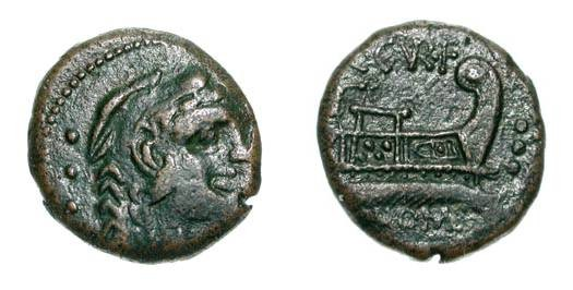 Ancient Coins - ROMAN REPUBLIC.  C. Cur F Trige, 135 BC.  Æ Quadrans.  Head of Hercules in lion-skin / Prow.  Cr.240/4a,  VF.  Rare.