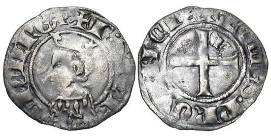 World Coins - FRANCE, Provence.  Charles II d'Anjou,  1285-1309 AD.  Billon Double Denier (0.85 gm).  Crowned  bust / Cross.  PdA.3972v.  Toned aVF.