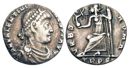Ancient Coins - VALENTINIAN I, 364-375 AD.  AR Siliqua (1.81 gm) of Trier.  Diademed draped bust / Roma seated, holding inverted spear and Victory on globe.  RIC.27d.  Toned VF.