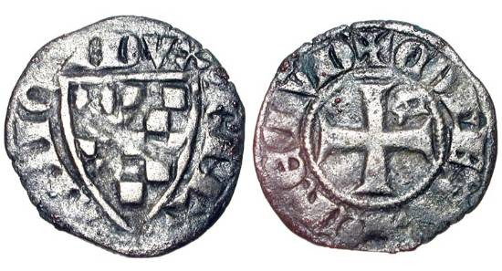 World Coins - FRANCE, Brittany,  Jean III le Bon, 1312-1341 AD.  AR Denier (0.68 gm).  Shield of arms / Cross with E.  Jez.83. Toned aVF