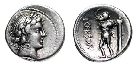 Ancient Coins - ROMAN REPUBLIC.  L. Censorinus, 82 BC.  AR Denarius (3.46 gm).  Laureate head of Apollo / Marsyas walking, carrying wine-skin, before column.  Marcia.24. Cr.363/1d.  VF+.