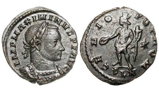 Ancient Coins - MAXIMINUS II DAIA, 310-313 AD.  Æ Large Module Follis of London.  Laureate cuirassed bust / Genius standing with patera and cornucopia  RIC.209b.  aXF, dark brown patina.