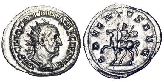 Ancient Coins - TRAJAN DECIUS, 249-251 AD.  AR Antoninianus (4.73 gm).  Radiate draped bust / Decius on horseback, holding sceptre.   RIC.11b.  Near Mint, worn rev die.