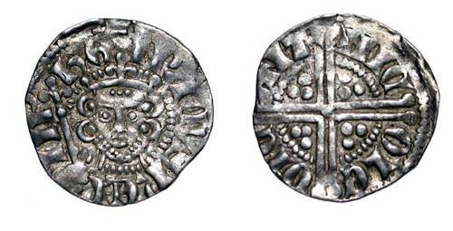 World Coins - ENGLAND.  Henry III, 1216-1272 AD.  AR Penny, cl. 5c, London, NICOLE.  Crowned head facing with sceptre / Long cross with three pellets in each angle.  S.1369.  Toned VF+.