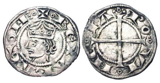 World Coins - FRANCE, Provence.  Alfonso I-II of Aragon, 1185-1209 AD.  AR Denier (0.82 gm), Marseilles.  Crowned bust, REX ARAGONE / Cross, POVINCIA.  Rob.5021.  Toned XF.