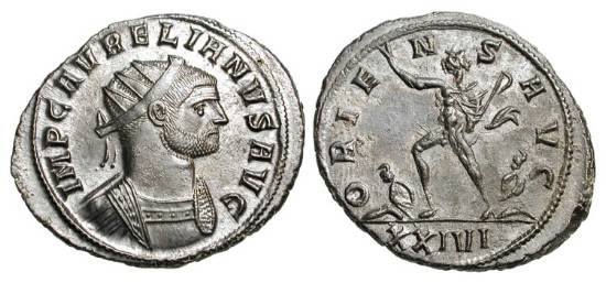 Ancient Coins - AURELIAN, 270-275 AD.  Silvered Æ Antoninianus (4.64 gm) of Siscia.  Radiate cuirassed bust / Sol advancing, holding whip and raising hand, captives at feet.  RIC.255.  Near Mint,