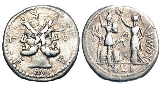 Ancient Coins - ROMAN REPUBLIC.  M. Furius L. f. Philus, 119 BC.  AR Denarius (3.78 gm).  Head of Janus / Roma erecting trophy.  Furia.18.  Cr.281/1. Toned VF+.