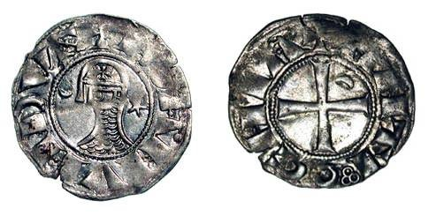 World Coins - ANTIOCH.  Bohemund III, 1163-1201 AD.  AR Denier.  Bust wearing chain-mail and helmet , star and crescent in field / Cross with one crescent.   MPS.69.   Toned XF.