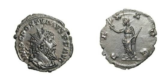 Ancient Coins - POSTUMUS, 259-268 AD.  Silvered AE Antoninianus of Lugdunum.  Radiate draped bust / Pax standing holding branch and sceptre.  RIC.318.  Near Mint, smooth dark brown patina.