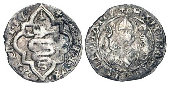 World Coins - ITALY, Milan. Francesco Sforza, 1450-1466 AD.  AR Soldo.  Crowned Biscia in octafoil / Bust of Saint Ambrose facing, holding whip and crosier.  Biaggi.1528.   N&V.162  aVF.