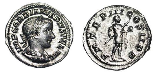 Ancient Coins - GORDIAN III, 238-244 AD.  AR Denarius (3.22 gm).  Laureate draped bust / Gordian standing holding spear and orb.  RSC.243.  XF