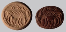 Ancient Coins - An Iron Age Reddish-Brown Stone Scaraboid Seal, 8th-7th century BCE