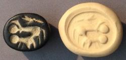 Ancient Coins - An Iron Age IIa Scaraboid Black Stone Seal, 10th-9th century BCE