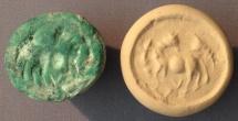 Ancient Coins - An Iron Age IIa Conoid Green Malachite Stone Seal, 10th-9th century BCE
