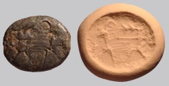 Ancient Coins - An Iron Age Scaraboid Silver Seal, 8th-7th century BCE