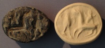Ancient Coins - An Iron Age IIa Brown Stone Scaraboid Seal, 10th-9th century BCE